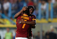 Calcio, Serie A: Frosinone vs Roma. Frosinone, stadio Comunale, 12 settembre 2015.<br /> Roma&rsquo;s Juan Iturbe, left, celebrates with teammate Gervinho after scoring during the Italian Serie A football match between Frosinone and Roma at Frosinone Comunale stadium, 12 September 2015. Roma won 2-0.<br /> UPDATE IMAGES PRESS/Riccardo De Luca