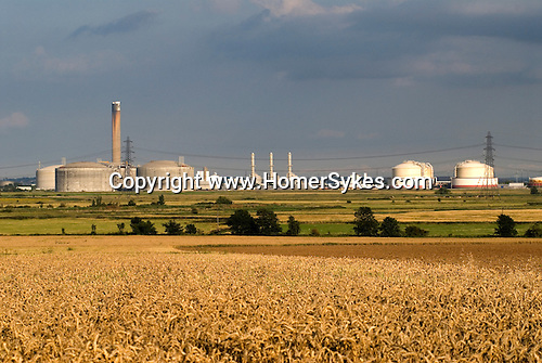Isle of Grain Kent. UK E.On Power Station to left of image and oil refinery.