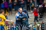 Roscommon managers Kevin McStay and Fergal O'Donnell celebrate their famous NFKL Div 1 win in Fitzgerald Stadium on Sunday