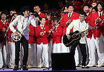 July 3, 2016, Tokyo, Japan - Japanese pop group Yuzu members Yujin Kitazawa (L) and Koji Iwasawa (R) sing a song to cheer Japanese athletes at a send-off ceremony for Japanese Olympic delegation to Rio de Janeiro in Tokyo on Sunday, July 3, 2016. Some 300 athletes attended the event.  (Photo by Yoshio Tsunoda/AFLO) LWX -ytd-