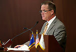 Nevada Lt. Gov. Mark Hutchison works on the Senate floor at the Legislative Building in Carson City, Nev., on Friday, April 3, 2015. <br /> Photo by Cathleen Allison
