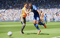 Reading's Tiago Ilori battles with Cardiff City's Kenneth Zohore<br /> <br /> Photographer Ian Cook/CameraSport<br /> <br /> The EFL Sky Bet Championship - Cardiff City v Reading - Sunday 6th May 2018 - Cardiff City Stadium - Cardiff<br /> <br /> World Copyright &copy; 2018 CameraSport. All rights reserved. 43 Linden Ave. Countesthorpe. Leicester. England. LE8 5PG - Tel: +44 (0) 116 277 4147 - admin@camerasport.com - www.camerasport.com