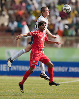 Eriq Zavaleta heads the ball. US Under-17 Men's National Team defeated United Arab Emirates 1-0 at Gateway International  Stadium in Ijebu-Ode, Nigeria on November 1, 2009.