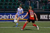 Rochester, NY - Friday July 01, 2016: Western New York Flash midfielder Meredith Speck (25), Chicago Red Stars defender Katie Naughton (5) during a regular season National Women's Soccer League (NWSL) match between the Western New York Flash and the Chicago Red Stars at Rochester Rhinos Stadium.