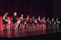Photo from Feb. 10, 2016, Thorne Hall of the dress rehearsal of Eve Ensler's The Vagina Monologues, which is the final event of V-Week. All proceeds will go to Peace Over Violence.<br /> Seated from L - R: Carolina Arenas '19, Ginny Wyatt '19, Emma Cones '17, Ana Vargas '16, Nina Monet Reynoso '16, Margot Simon '16, Audrey Shawley '18, Nguhi Muturi '17, Emily Gao '18 and Lani Cupo '17.<br /> (Photo by Marc Campos, Occidental College Photographer)