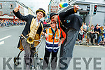 Street performers enjoying the atmosphere at the Rose Parade on Sunday.