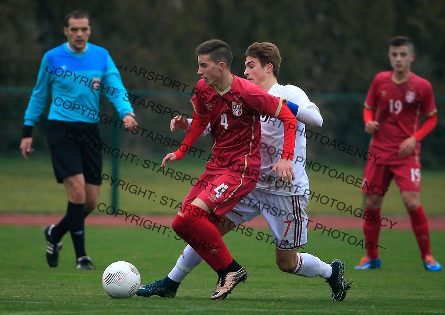 Fudbal soccer friendly match<br /> Srbija U17 v Madjarska U17<br /> Veljko Nikolic (L)<br /> Stara Pazova, 08.12.2015.<br /> foto: Srdjan Stevanovic/Starsportphoto &copy;
