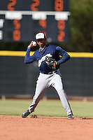 Milwaukee Brewers shortstop Gilbert Lara (70) during an Instructional League game against the Los Angeles Angels of Anaheim on October 9, 2014 at Tempe Diablo Stadium Complex in Tempe, Arizona.  (Mike Janes/Four Seam Images)