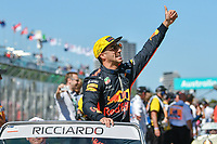 March 25, 2018: Daniel Ricciardo (AUS) #3 from the Aston Martin Red Bull Racing team waves to the crowd during the drivers' parade at the 2018 Australian Formula One Grand Prix at Albert Park, Melbourne, Australia. Photo Sydney Low