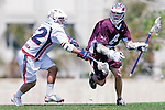 Los Angeles, CA 03/20/10 - Hayden Fulstone (LMU # 8) and Brent Cambra (Arizona # 12) in action during the Arizona-Loyola Marymount University MCLA game at Leavey Field (LMU).  LMU defeated Arizona 13-6.