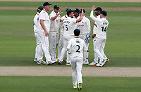 Steven Mullaney of Nottinghamshire celebrates taking the wicket of Ryan ten Doeschate during Nottinghamshire CCC vs Essex CCC, Specsavers County Championship Division 1 Cricket at Trent Bridge on 11th September 2018