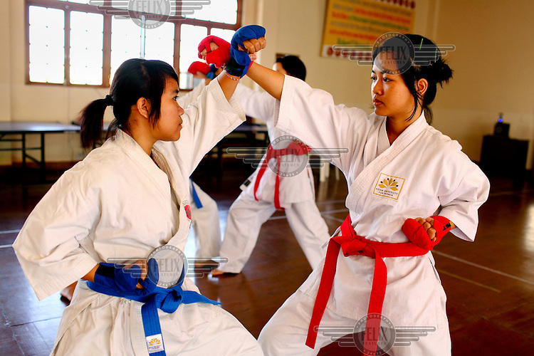 Students during a karate class at the Asian University for Women. /Felix Features