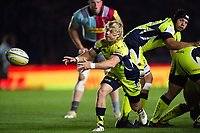 Faf de Klerk of Sale Sharks passes the ball. Aviva Premiership match, between Harlequins and Sale Sharks on October 6, 2017 at the Twickenham Stoop in London, England. Photo by: Patrick Khachfe / JMP