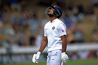 India's Mayank Agarwal walks off after being caught by Kyle Jamieson during the International Test Cricket match between the New Zealand Black Caps and India at the Basin Reserve in Wellington, New Zealand on Friday, 21 February 2020. Photo: Dave Lintott / lintottphoto.co.nz