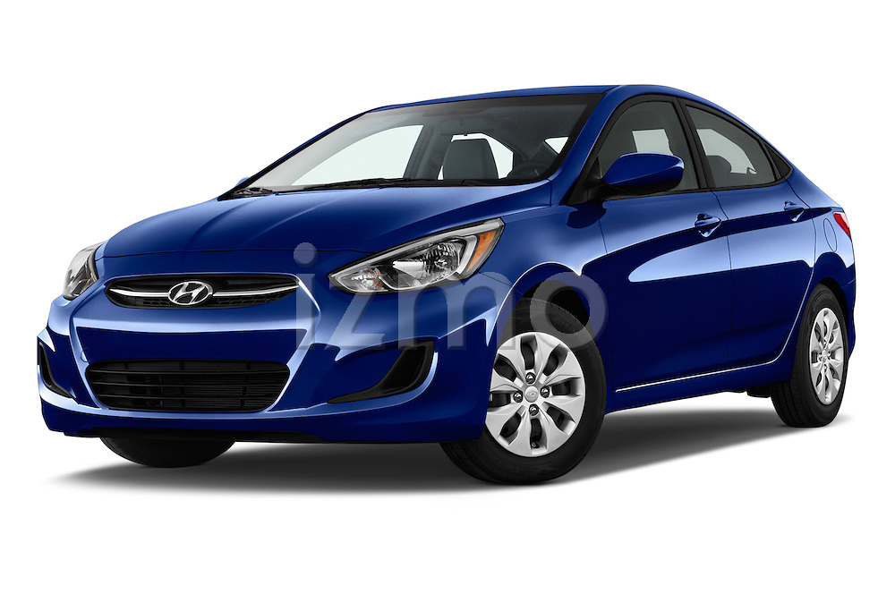 Stock pictures of low aggressive front three quarter view of 2017 Hyundai Accent SE 4-Door 6-Speed Automatic 4 Door Sedan Low Aggressive