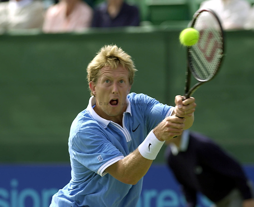 Photo:Ken Brown.21.6.2000  The Nottingham Open Tennis Championship.Jonas Bjorkman the conquer of Henman in action against Mirnyi