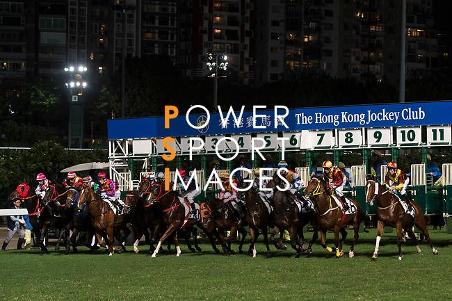 Jockeys riding their horses during the race 1 of Hong Kong Racing at Happy Valley Race Course on November 29, 2017 in Hong Kong, Hong Kong. Photo by Marcio Rodrigo Machado / Power Sport Images