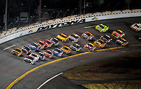 Feb 07, 2009; Daytona Beach, FL, USA; NASCAR Sprint Cup Series driver Dale Earnhardt Jr (88) and Elliott Sadler (19) race side by side for the lead during the Bud Shootout at Daytona International Speedway. Mandatory Credit: Mark J. Rebilas-