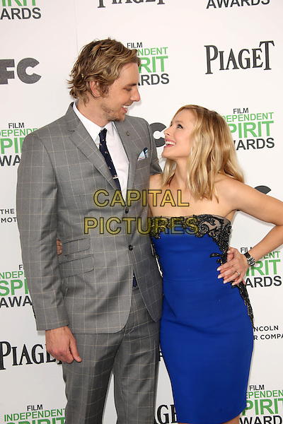 SANTA MONICA, CA - March 01: Dax Shepard, Kristen Bell at the 2014 Film Independent Spirit Awards Arrivals, Santa Monica Beach, Santa Monica,  March 01, 2014. Credit: Janice Ogata/MediaPunch<br /> CAP/MPI/JO<br /> &copy;JO/MPI/Capital Pictures