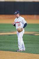 Bucknell Bison second baseman Joe Ogren (13) on defense against the Georgetown Hoyas at Wake Forest Baseball Park on February 14, 2015 in Winston-Salem, North Carolina.  The Hoyas defeated the Bison 8-5.  (Brian Westerholt/Four Seam Images)