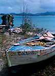 Beached fishing boat on the shore. Santa Marta, Colombia, Caribbean. 1976