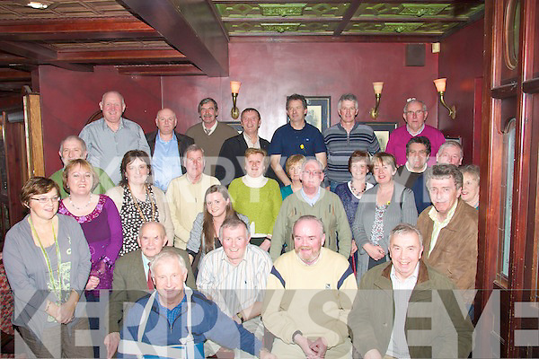ESB:Denis O'Mahony(seated 2nd from left) Tralee, Paudie Griffin (3rd from left) and Jerome Mahony(4th from left) Castleisland, who retired from the ESB, Tralee on Friday and their collegues held a retirmen party for them in the Meadowlands Hotel, Tralee.................................. ....