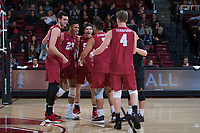 STANFORD, CA - March 3, 2018: Kevin Rakestraw, Jaylen Jasper, JP Reilly, Mason Tufuga, Eric Beatty, Evan Enriques at Maples Pavilion. The Stanford Cardinal lost to Pepperdine, 3-0.