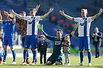 Jan Glinker (Magdeburg, 1) mit seinen Kindern; links Bj&ouml;rn Rother (Magdeburg, 6), rechts Nils Butzen (Magdeburg, 16) Jubel &uuml;ber den Sieg, Jubel nach Spielende beim Spiel in der 3. Liga, 1. FC Magdeburg - Karlsruher SC.<br /> <br /> Foto &copy; PIX-Sportfotos *** Foto ist honorarpflichtig! *** Auf Anfrage in hoeherer Qualitaet/Aufloesung. Belegexemplar erbeten. Veroeffentlichung ausschliesslich fuer journalistisch-publizistische Zwecke. For editorial use only.