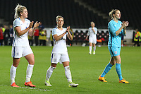 Millie Bright (Chelsea) of England Women, Jordan Nobbs (Arsenal) of England Women and Goalkeeper Siobhan Chamberlain (Liverpool) of England Women applaud the home fans after the Women's Friendly match between England Women and Austria Women at stadium:mk, Milton Keynes, England on 10 April 2017. Photo by PRiME Media Images / David Horn.