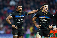 Semesa Rokoduguni and Francois Louw of Bath Rugby. Heineken Champions Cup match, between Stade Toulousain and Bath Rugby on January 20, 2019 at the Stade Ernest Wallon in Toulouse, France. Photo by: Patrick Khachfe / Onside Images