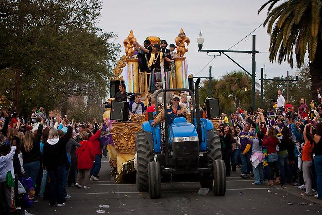 Musician and Grand Marshal of Endymion, Kid Rock throws beads as he rides in the 2009 Krewe of Endymion Parade on February 21, 2009 in New Orleans, Louisiana. USA
