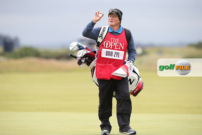 Caddie John Rawlings [Jaco Van Zyl (RSA)] during Round One of the 144th Open, played at the Old Course, St Andrews, Scotland. /16/07/2015/. Picture: Golffile | David Lloyd<br /> <br /> All photos usage must carry mandatory copyright credit (&copy; Golffile | David Lloyd)