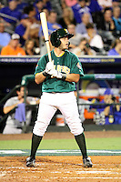 Kyle Botha #4 of Team South Africa at bat during a game against Team Israel at Roger Dean Stadium on September 19, 2012 in Jupiter, Florida. Team Israel defeated Team South Africa 7-3.  (Stacy Jo Grant/Four Seam Images).