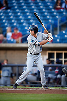 Lake County Captains shortstop Luke Wakamatsu (12) at bat during a game against the Quad Cities River Bandits on May 6, 2017 at Modern Woodmen Park in Davenport, Iowa.  Lake County defeated Quad Cities 13-3.  (Mike Janes/Four Seam Images)