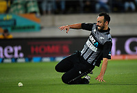 Daryl Mitchell fields during the international Twenty20 cricket match between NZ Black Caps and India at Westpac Stadium in Wellington, New Zealand on Wednesday, 6 February 2019. Photo: Dave Lintott / lintottphoto.co.nz
