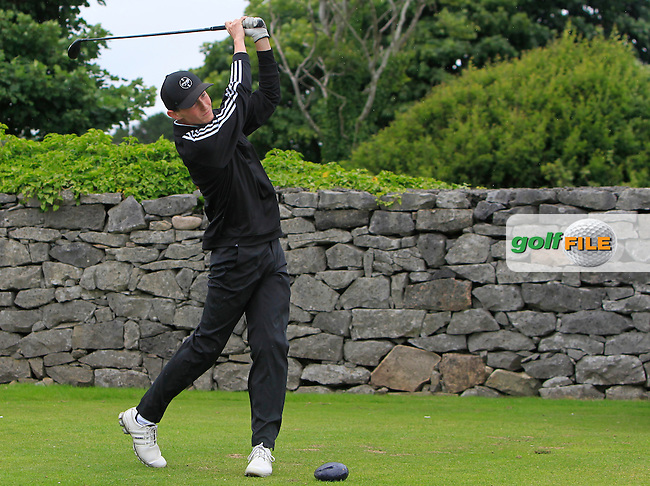 John Oster (Laytown &amp; Bettystown) on the 1st tee during R2 of the 2016 Connacht U18 Boys Open, played at Galway Golf Club, Galway, Galway, Ireland. 06/07/2016. <br /> Picture: Thos Caffrey | Golffile<br /> <br /> All photos usage must carry mandatory copyright credit   (&copy; Golffile | Thos Caffrey)