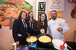 Skills Active Cymru<br /> Students from Stanwell School in Penarth Megan Hain,<br /> Sally Jones &amp; Natalie Lewis with chef Pascal Meril.<br /> Cardiff International Arena<br /> 23.10.14<br /> &copy;Steve Pope-FOTOWALES