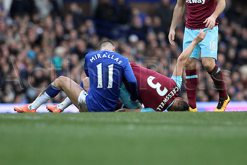 05.03.2016. Goodison Park, Liverpool, England. Barclays Premier League. Everton versus West Ham.Kevin Mirallas of Everton brings down Aaron Cresswell of West Ham  United with a bad foul earning him a red card.