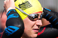 31 JUL 2011 - LONDON, GBR - Jodie Stimpson prepares for the start of the Elite Women's race during the Virgin Active London Triathlon (PHOTO (C) NIGEL FARROW)
