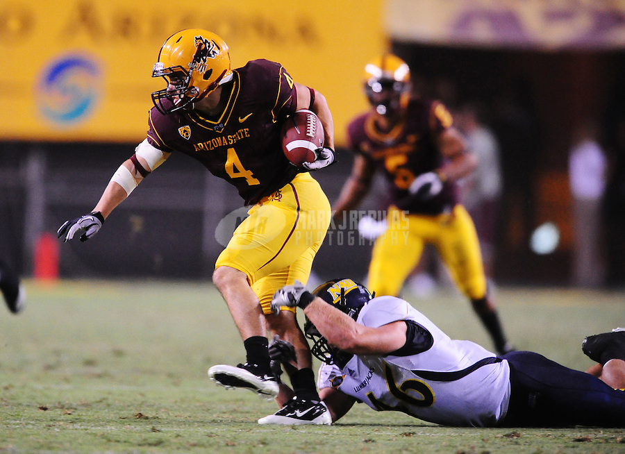 Sept. 11, 2010; Tempe, AZ, USA; Arizona State Sun Devils wide receiver Aaron Pflugrad against the Northern Arizona Lumberjacks at Sun Devil Stadium. Arizona State defeated Northern Arizona 41-20. Mandatory Credit: Mark J. Rebilas-