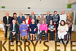 Pat Mahony, Betty Lynch, Mary Ellen Brosnan, Grace Mahony, Lisa Hickey, Saoirse Murphy, Back L to R Mathew Murphy, Ann Connolly, James Ryan, Camille Ryan, Paddy Brosnan, Caitlyn Murphy, David Blennerhassett, Fr. Padraig Walsh, Brendan Kelly, Paul Murphy, Mary Murphy enjoying the Irish Wheelchair Association Christmas Party at the Earl of Desmond Hotel on Sunday