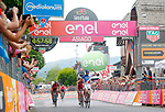 Thibaut Pinot (FRA) FDJ outsprints Ilnur Zakarin (RUS) Katusha Alpecin, Vincenzo Nibali (ITA) Bahrain-Merida and Nairo Quintana (COL) Movistar Team Maglia Rosa to win Stage 20 of the 100th edition of the Giro d'Italia 2017, running 190km from Pordenone to Asiago, Italy. 27th May 2017.<br /> Picture: LaPresse/Simone Spada | Cyclefile<br /> <br /> <br /> All photos usage must carry mandatory copyright credit (&copy; Cyclefile | LaPresse/Simone Spada)