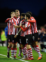 Lincoln City's Bruno Andrade, centre, celebrates scoring his side's third goal with team-mates, from left, Michael O'Connor, Matt Rhead, Tom Pett and Matt Green<br /> <br /> Photographer Chris Vaughan/CameraSport<br /> <br /> Emirates FA Cup First Round - Lincoln City v Northampton Town - Saturday 10th November 2018 - Sincil Bank - Lincoln<br />  <br /> World Copyright &copy; 2018 CameraSport. All rights reserved. 43 Linden Ave. Countesthorpe. Leicester. England. LE8 5PG - Tel: +44 (0) 116 277 4147 - admin@camerasport.com - www.camerasport.com