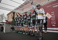 Team Bora-Hansgrohe pre-race team presentation with world champion Peter Sagan (SVK/Bora-Hansgrohe)<br /> <br /> 11th Strade Bianche 2017