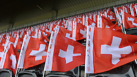 Fussball International  WM Qualifikation 2014   in Bern Schweiz - Slowenien         15.10.2013 Schweizer Fahnen im Stade de Suisse in Bern