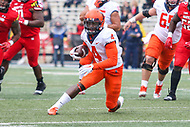College Park, MD - October 27, 2018: Illinois Fighting Illini wide receiver Ricky Smalling (4) runs the ball during the  game between Illinois and Maryland at  Capital One Field at Maryland Stadium in College Park, MD.  (Photo by Elliott Brown/Media Images International)
