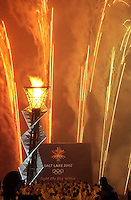 Fireworks. To celebrate the one-year anniversary of the 2002 Winter Olympics, the Olympic Cauldron at Rice-Eccles Stadium is re-lit. The flame will burn for the next 17 days. 02.08.2003, 7:24:53 PM<br />