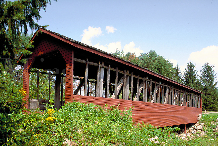 The Harrity Covered Bridge was built in 1841 and has since been relocated to Beltzville State Park, Pennsylvania. nostalgia, old time engineering, antique, roadways, Americana, architecture. Pennsylvania, Beltzville State Park.
