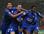 Daniel Amartey of Leicester City (r) celebrates scoring the equalising goal during the English Premier League match at the Bet 365 Stadium, Stoke on Trent. Picture date: December 17th, 2016. Pic Simon Bellis/Sportimage
