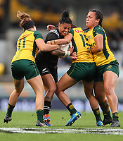 Renee Wickcliffe is tackled during the International Women's Rugby match between the New Zealand All Blacks and Australia Wallabies at Eden Park in Auckland, New Zealand on Saturday, 17 August 2019. Photo: Simon Watts / lintottphoto.co.nz